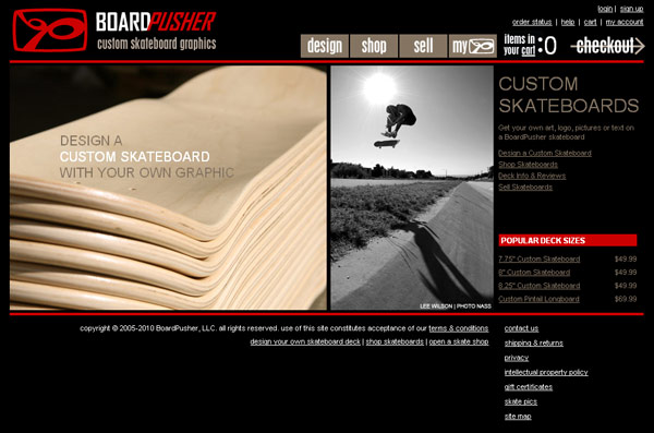 BoardPusher Custom Skateboards Homepage